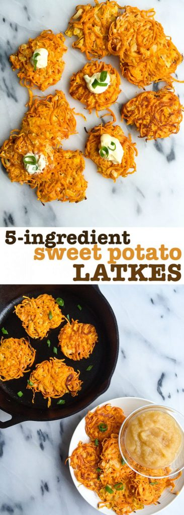 5-ingredient sweet potato latkes, gluten and dairy-free!