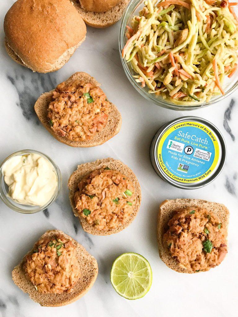 Spicy Thai Tuna Burgers with Crunchy Peanut Slaw