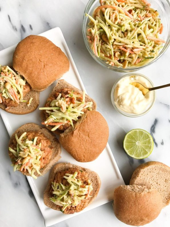 Spicy Thai Tuna Burgers with Crunchy Peanut Slaw