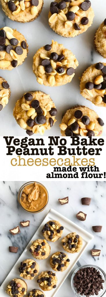 No-bake Peanut Butter Cup Cheesecakes (vegan)
