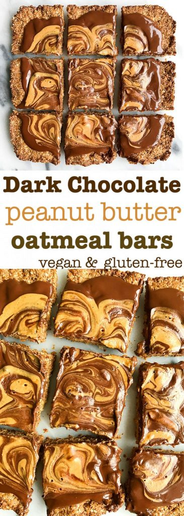Dark Chocolate Peanut Butter Cup Snack Bars (gluten-free)