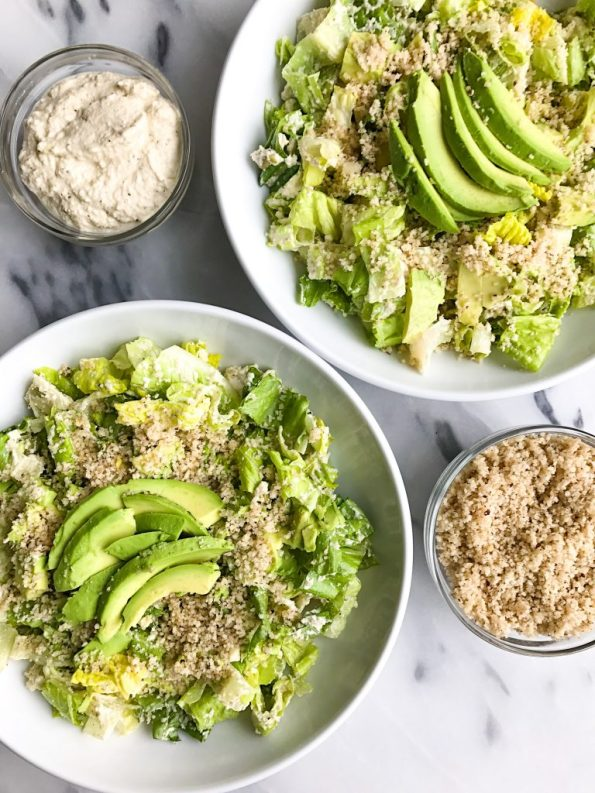 Crunchy Caesar Salad with Brazil Nut Parmesan for a simple and healthy vegan caesar salad!