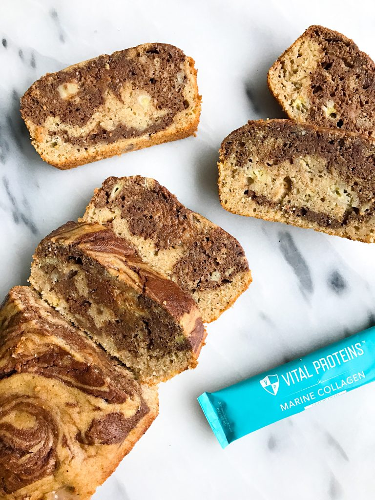 Dark Chocolate Marble Spelt Flour Banana Bread made with collagen peptides!