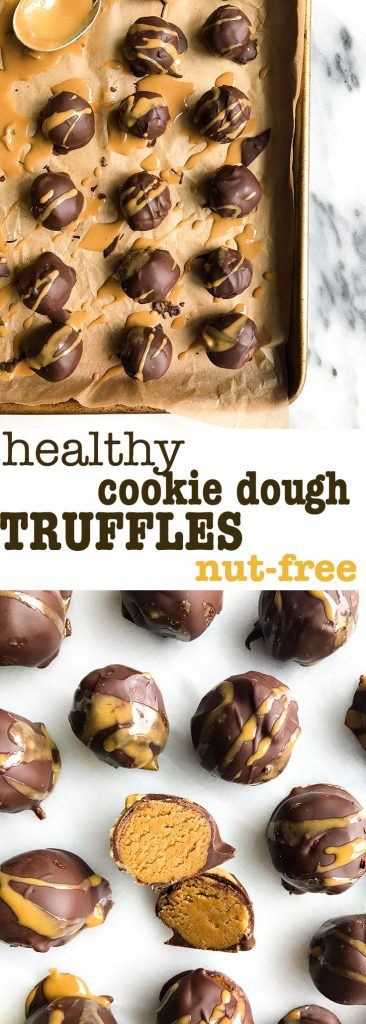 Healthy Cookie Dough Truffles that are nut-free, vegan and made with simple ingredients!