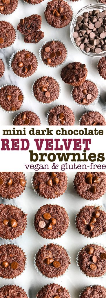 Mini Dark Chocolate Stuffed Red Velvet Brownies made vegan and gluten-free!