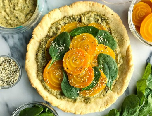 Spring Veggie Pizza with Almond Flour Crust made with 4 ingredients!