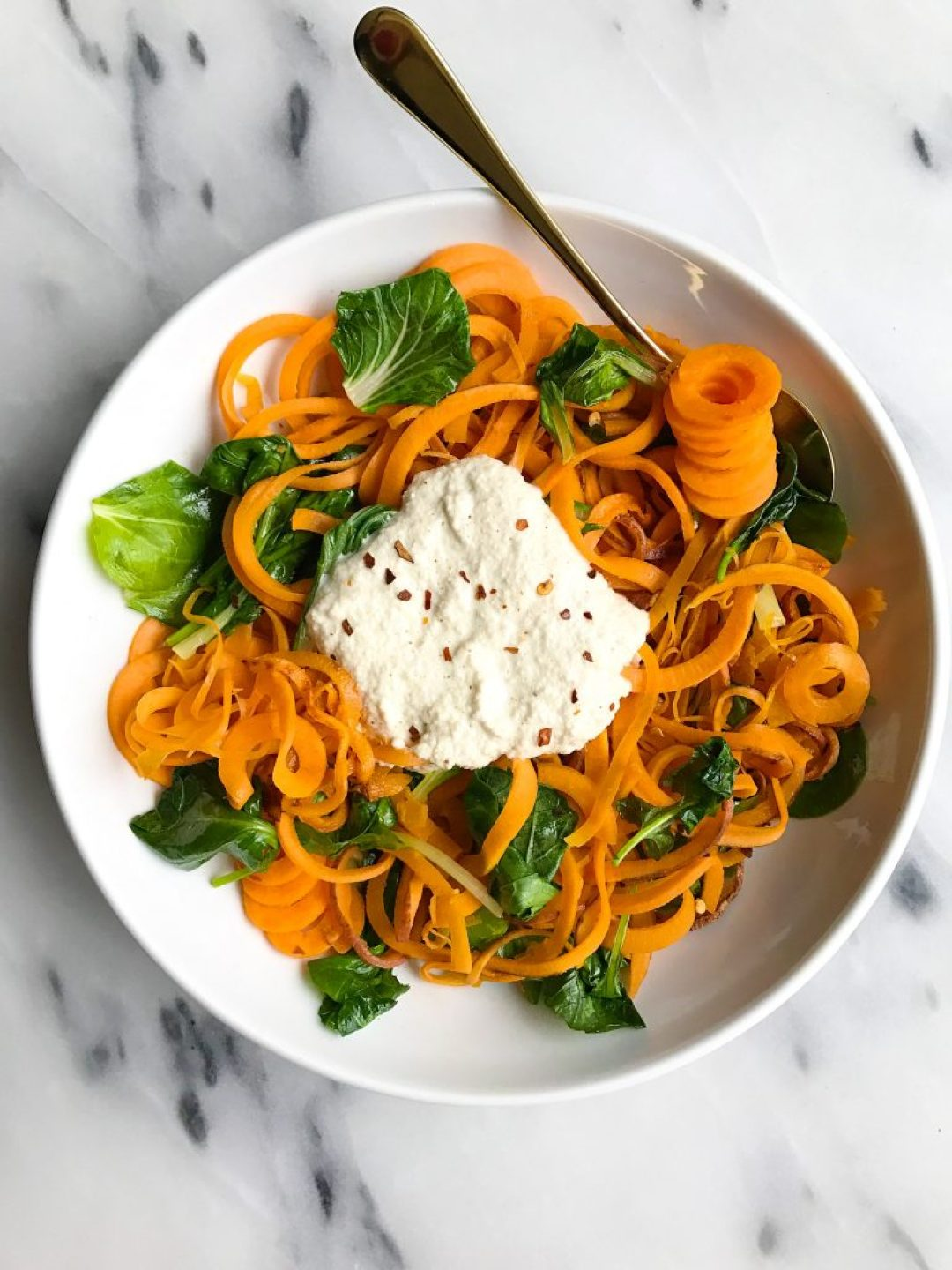 Whole30 Garlic Cream Sauce with Sweet Potato Noodles