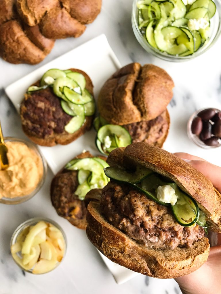 Easy Hummus Stuffed Burgers with Greek Cucumber Slaw for a healthy, easy burger recipe!