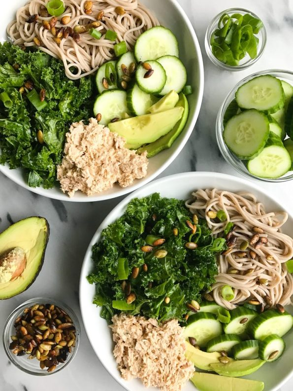 My Go-To Super Simple Tuna Salad Noodle Bowl for a quick and easy meal!