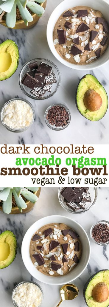 Dark Chocolate Avocado Orgasm Smoothie made with dreamy ingredients for a low sugar smoothie!