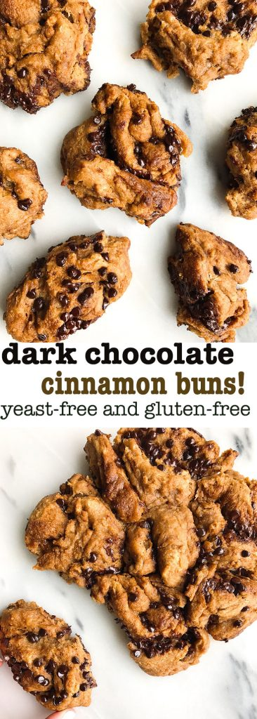 Dreamy & Messy Dark Chocolate Cinnamon Buns that are gluten & yeast-free, so easy to make!