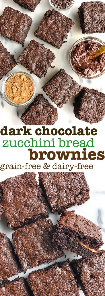 Chocolate Frosted Zucchini Bread Brownies that are grain & dairy-free, so chocolatey and delicious!
