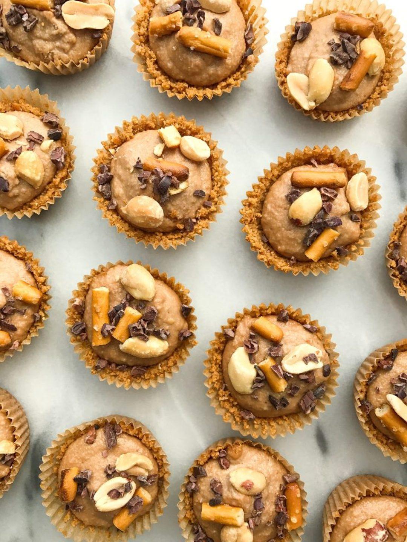 Chocolate Peanut Butter Pretzel Cheesecake Bites made with a gluten-free pretzel crust!