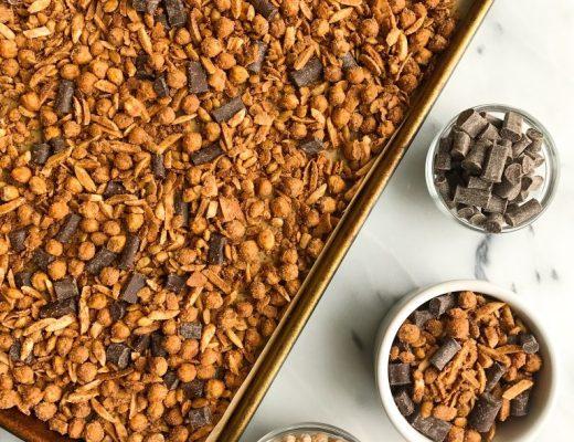 Deliciously easy Dark Chocolate Sea Salt Grain-free Chickpea Granola made with no added sugar!