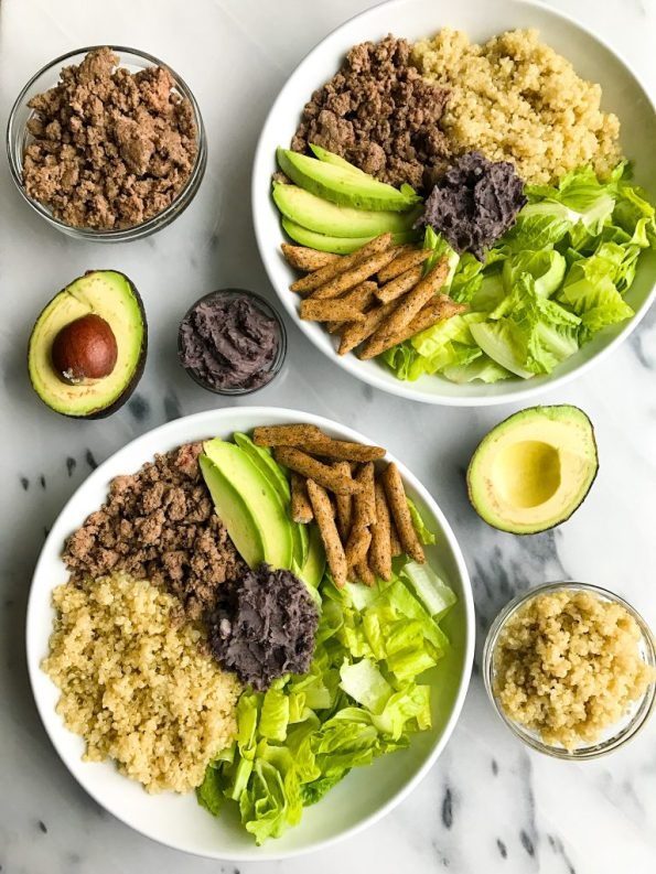 The easiest 10-minute Taco Bowl with Black Bean Dip for a healthy lunch or dinner bowl!