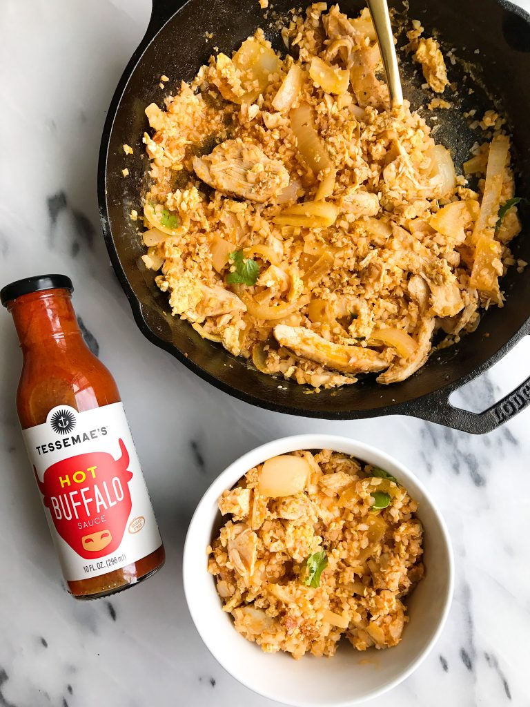 Buffalo Chicken Cauliflower Fried Rice for an easy Whole30 meal