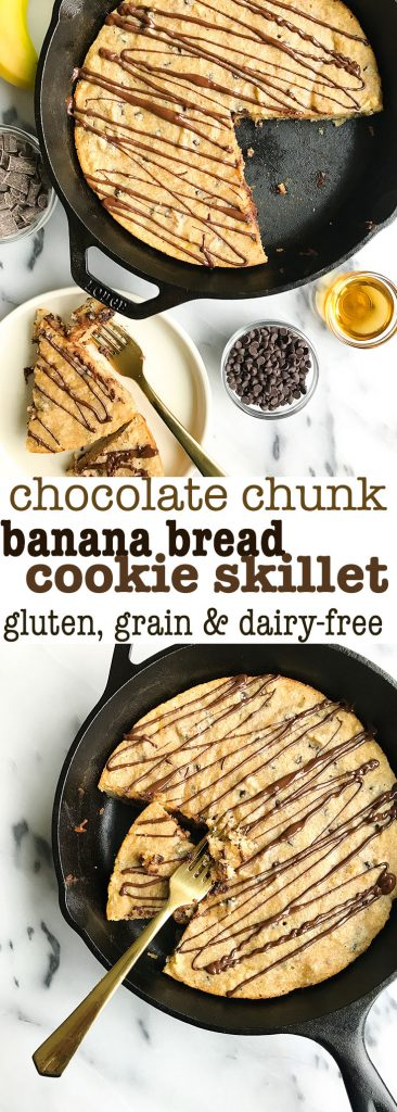 Chocolate Chunk Banana Bread Cookie Skillet made with almond flour for a grain & dairy-free dessert!
