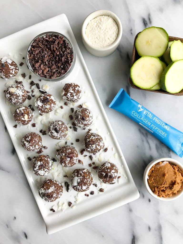 Chocolate Chip Zucchini Bread Truffles made dairy & grain-free and with collagen peptides!