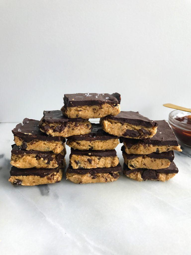 Sea Salt Dark Chocolate Cookie Dough Crack Bars (vegan + gf)