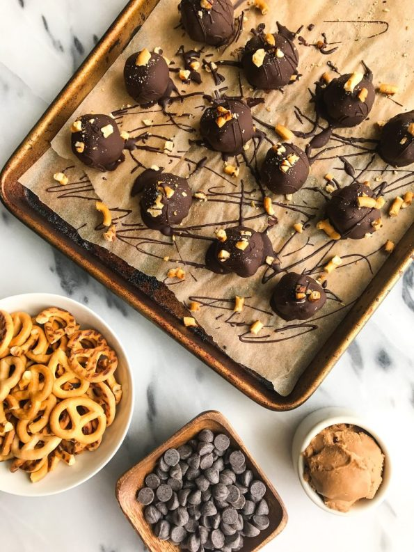 Simple and Easy Dark Chocolate Coconut Butter Pretzel Truffles that are gluten-free!