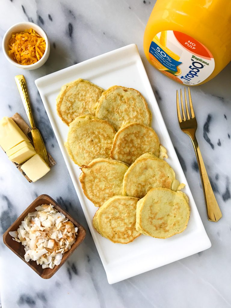 Toasted Coconut Orange Pancakes made with coconut flour for a delicious grain-free breakfast!