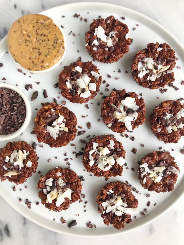 No-bake Nutty Chocolate Coconut Cookies made with gluten-free and vegan ingredients