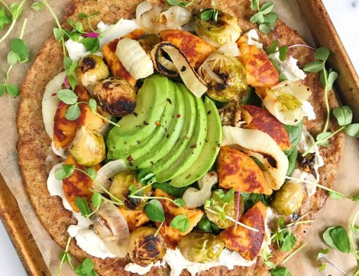 Simple Vegan Breakfast Pizza made with just a few delicious savory ingredients!