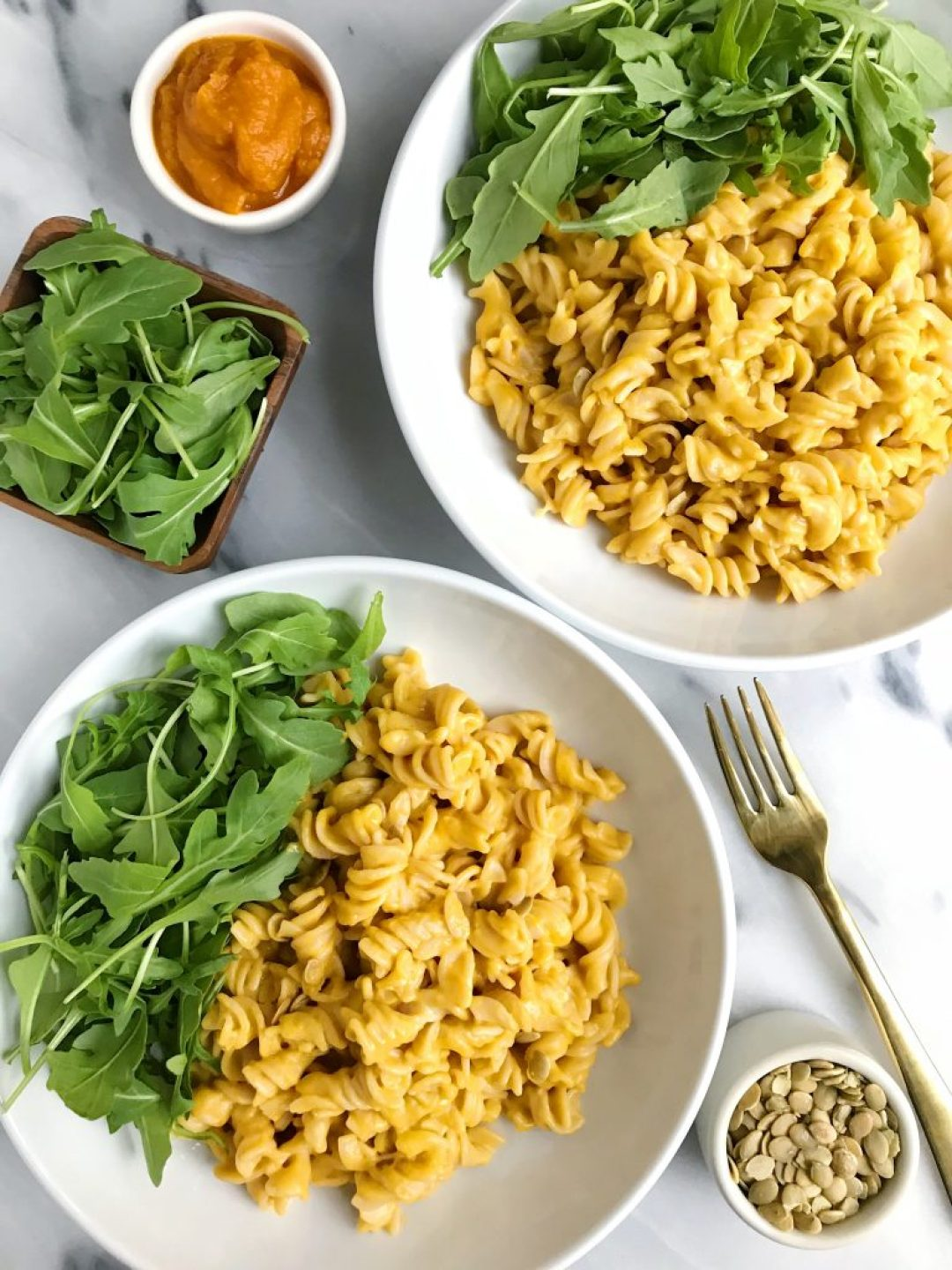 5-ingredient Creamy Squash Pasta made with vegan and gluten-free ingredients for aneasy and quick meal!