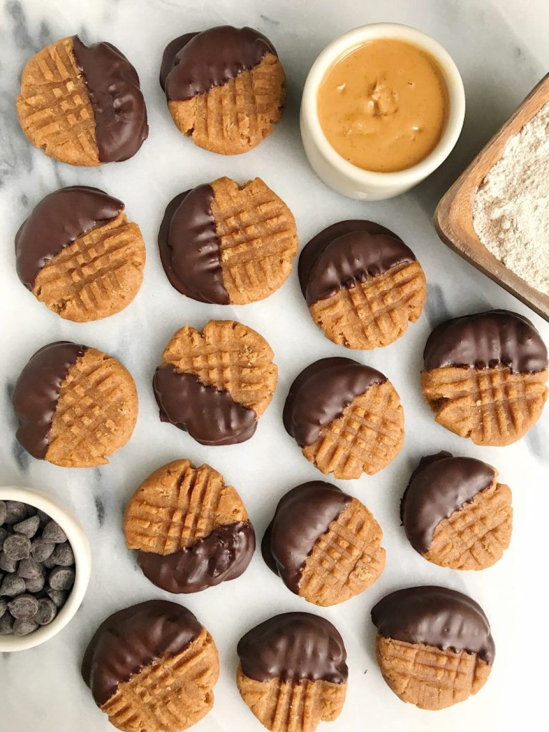 Chocolate Dipped Peanut Butter Cookies made with spelt flour for a healthier vegan cookie!