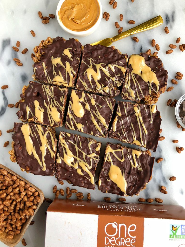 Healthier Nutty Chocolate Rice Krispie Treats made vegan and gluten-free