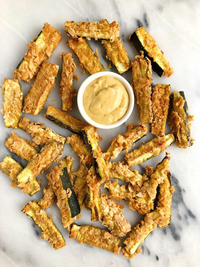Gltuen-free Crispy Zucchini Fries with Homemade Dijon Mustard with bone broth it in!