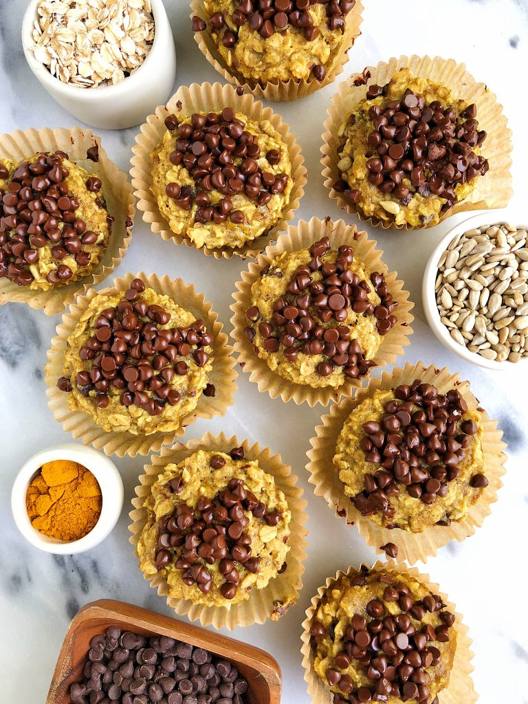 Golden Chocolate Chip Banana Bread Muffins made with vegan, gluten-free and nut-free ingredients filled with oats, seeds and anti-inflammatory turmeric!