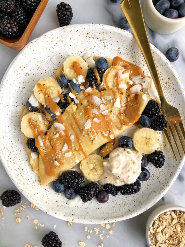 Easy Collagen Breakfast Crepes made with gluten-free and dairy-free ingredients for a simple and healthy breakfast crepe!