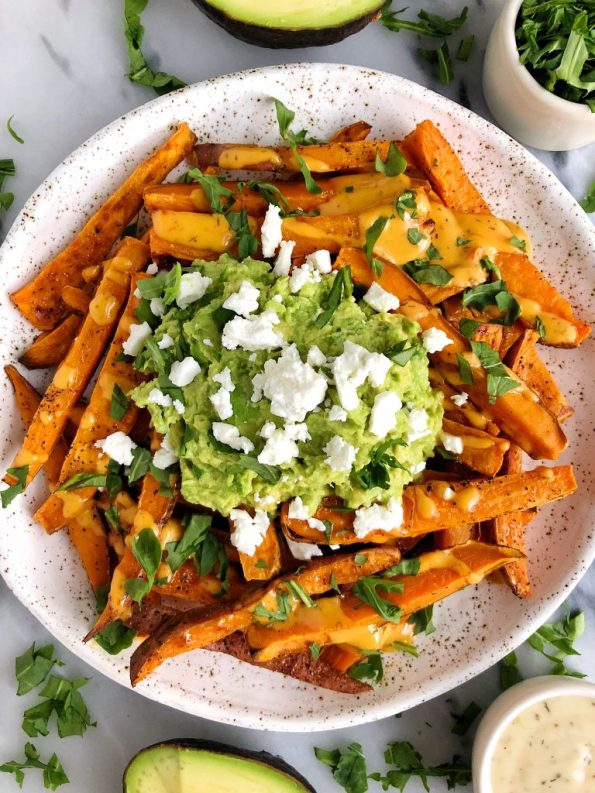 Loaded Guacamole Baked Sweet Potato Fries