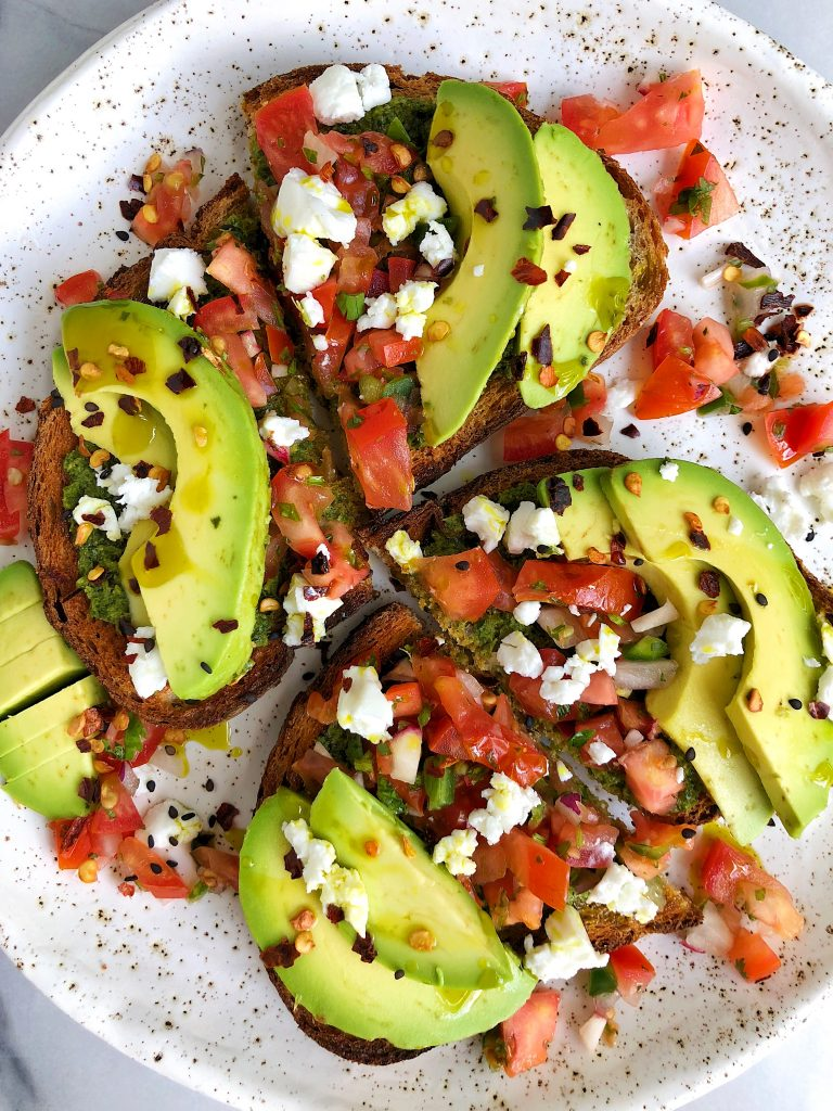 Summer Bruschetta Toast with Cashew Green Pesto made with all gluten-free and dairy-free ingredients for an easy and healthy homemade crunchy toast!