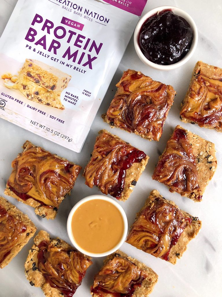 No-Bake Peanut Butter & Jelly Snack Bars made with vegan and gluten-free ingredients for an easy homemade snack!