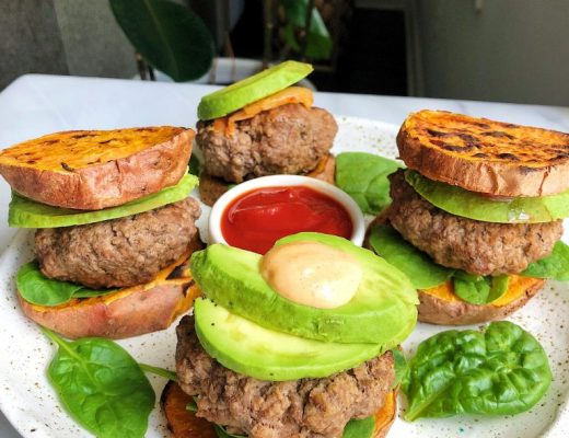 Paleo Sweet Potato Bun Lamb Burgers for an easy a delicious whole30 recipe!
