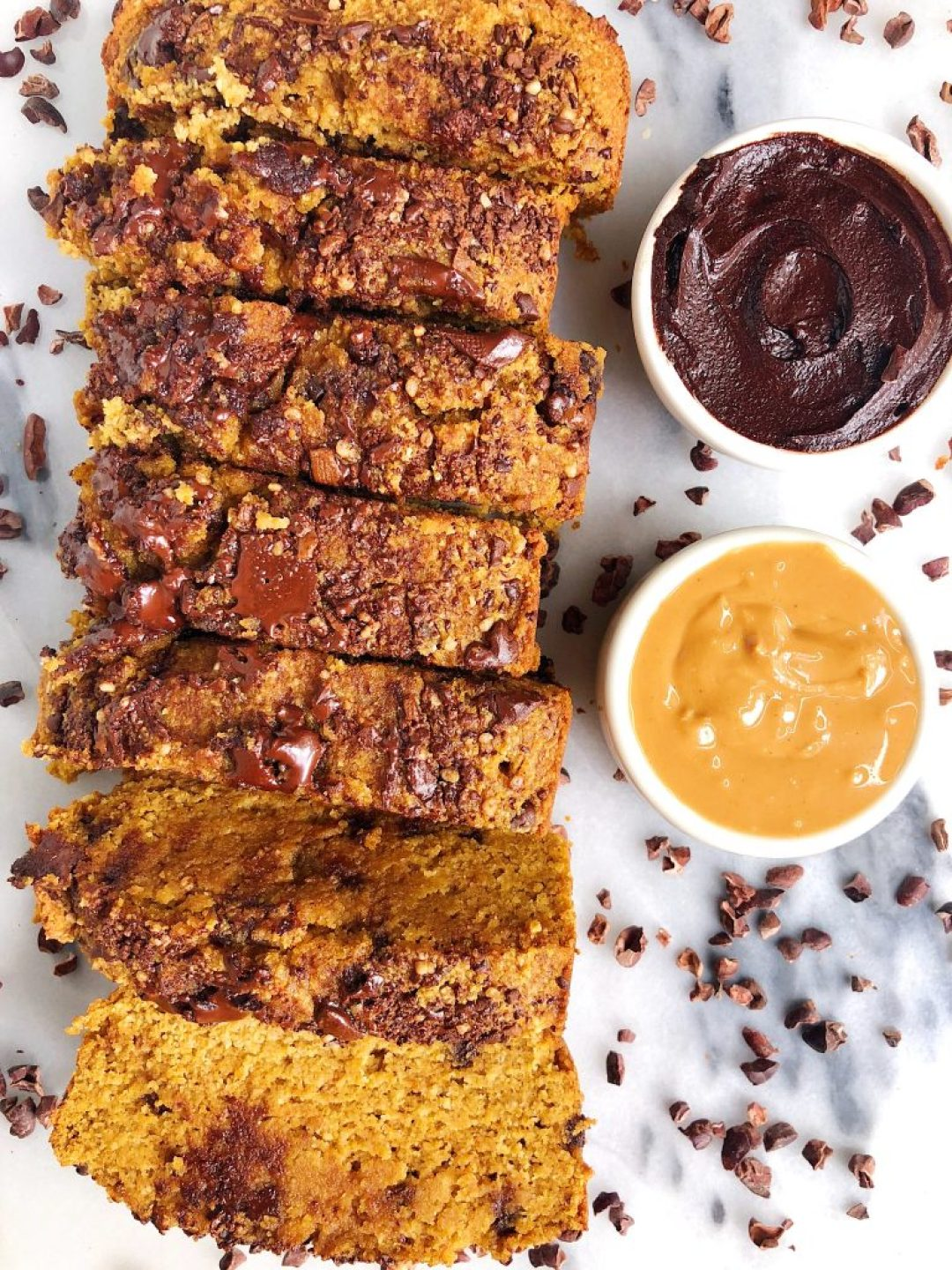 Paleo Pumpkin Chocolate Chip Breadwith Collagen Peptides for an easy and healthy pumpkin bread recipe, perfect for breakfast or snacking!