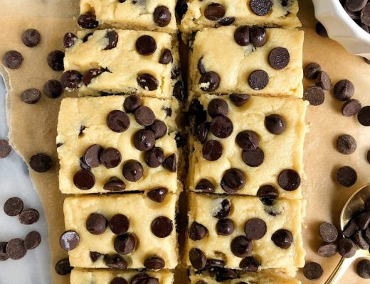 5-ingredient Chocolate Chip Cookie Dough Fudge Squares made with gluten-free and dairy-free ingredients and sweetened with manuka honey!