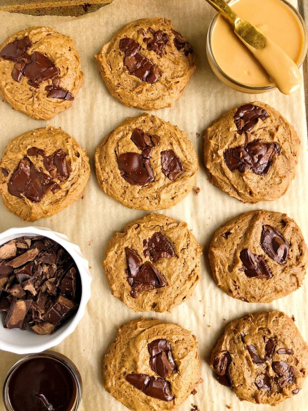 The Best Vegan Chocolate Chunk Sea Salt Peanut Butter Cookies made with gluten-free and plant-based ingredients for a simple and easy homemade cookie recipe ready in under 15 minutes!