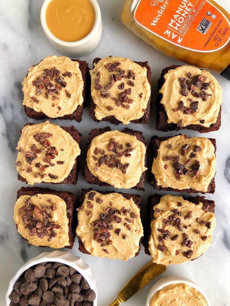 One-Bowl Healthy Vegan Brownies with a homemade Peanut Butter Frosting for an easy and delicious gluten-free and refined sugar-free brownie recipe!