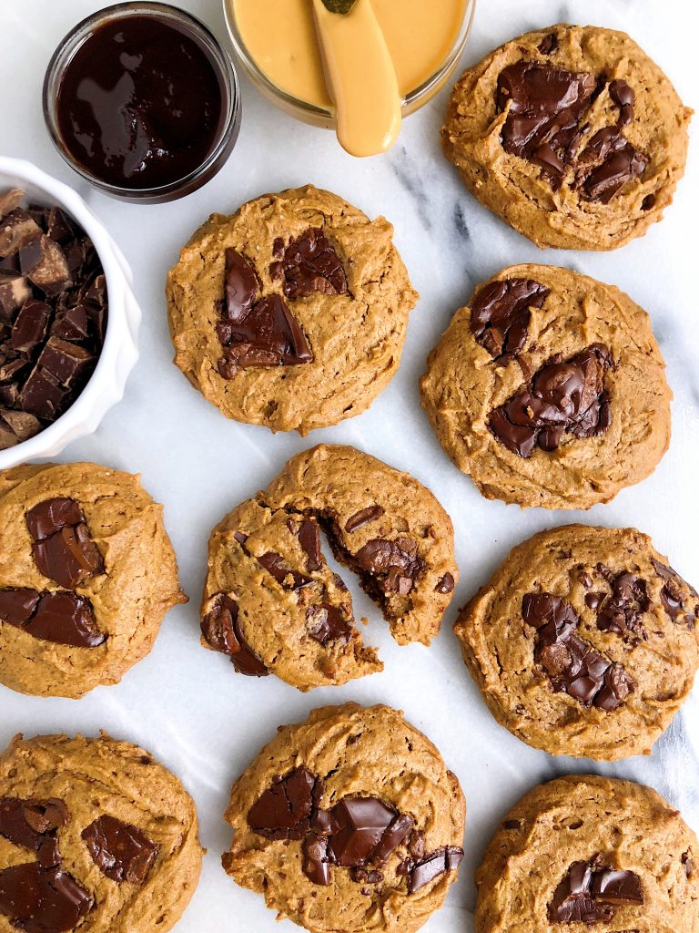 The Best Vegan Chocolate Chunk Sea Salt Peanut Butter Cookies made with gluten-free, grain-free and plant-based ingredients for a simple and easy homemade cookie recipe ready in under 15 minutes!