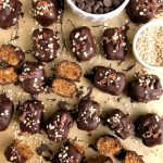Vegan Chocolate Chip Oatmeal Cookie Truffles made with gluten-free ingredients and sweetened with dates for a delicious easy cookie truffle!