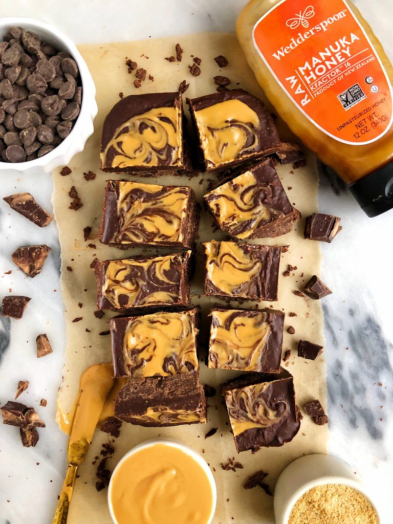 Gluten-free Chocolate Peanut Butter Freezer Fudge made with five simple ingredients for a delicious and healthy crunchy chocolatey fudge