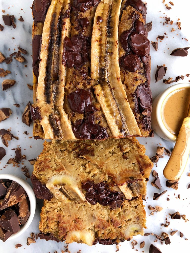 One-Bowl Paleo Vegan Chocolate Chip Banana Bread made with all gluten-free, dairy-free and refined sugar-free ingredients for an easy healthy banana bread recipe.