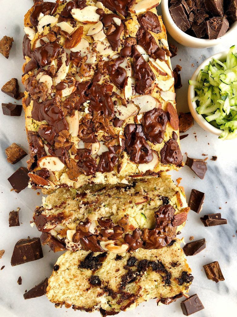 Paleo Chocolate Chunk Zucchini Bread made with gluten-free ingredients like almond flour, coconut flour and coconut sugar-sweetened dark chocolate!