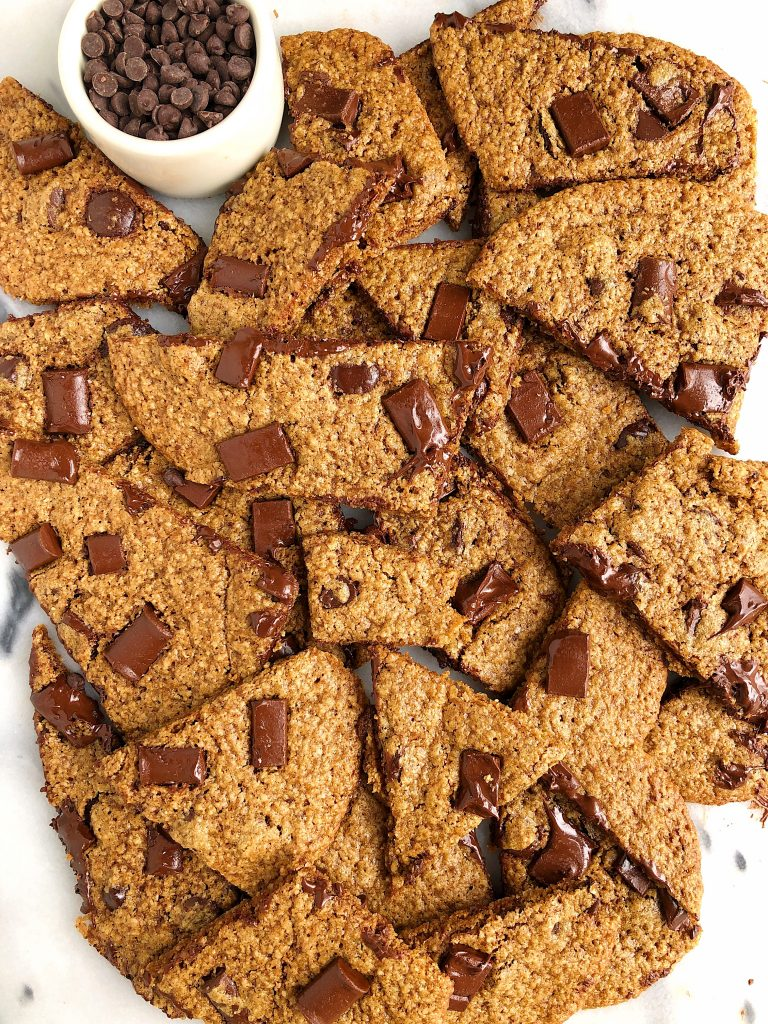 Browned Butter Chocolate Chip Cookie Sheet made with gluten-free ingredient for a healthy crispy on the outside, chewy center cookie recipe!