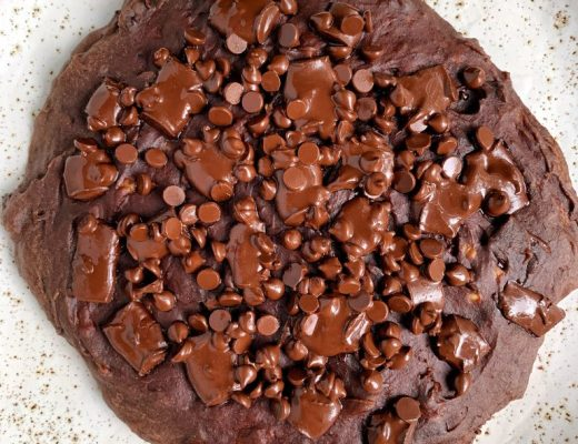 One Giant Fudgy Chocolate Chip Brownie Cookie made with all gluten-free, dairy-free ingredients for a low sugar easy dessert!