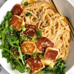 Easy Sesame Peanut Tahini Noodles with Halloumi (gluten-free)
