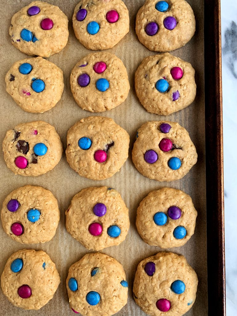 The Best Gluten-free Chocolate Chip Monster Cookies sweetened with coconut sugar for an epic healthier cookie recipe ready in under 30 minutes